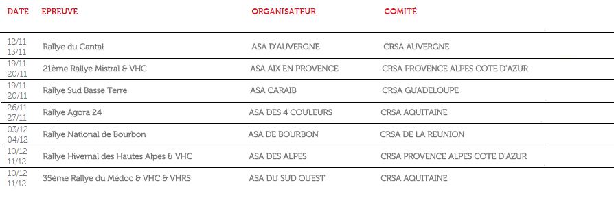Provisoire calendrier 2016 des rallyes coupe de france - Calendrier de la coupe de france 2015 ...